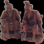 Pair of Vintage Chinese Carved Hardwood Figures. Glass Eyes Bone Teeth.