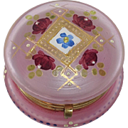 Beautiful French Vintage Pink Frosted Glass Enamelled Powder / Vanity / Trinket Box.