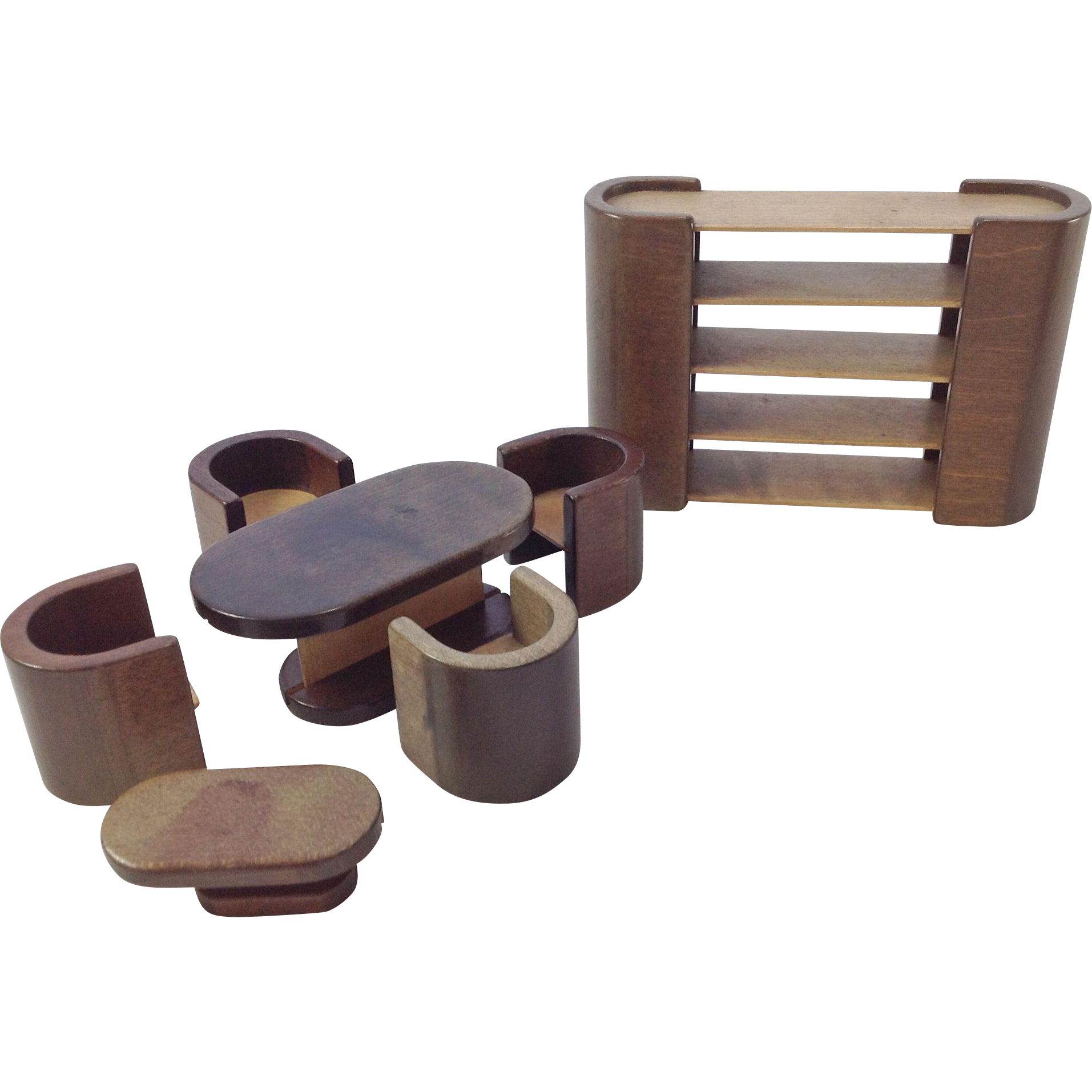 Vintage Art Deco Doll House Dining Set, Bookcase / Room Divider And : My  French Attic | Ruby Lane