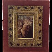 Beautiful Rare Victorian Crystoleum. Religious Scene. Albumen Print. C.1890