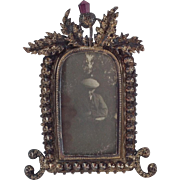 Attractive Small White Metal Steel Cut Photograph Frame with Scottish Thistle Decoration. C.1910