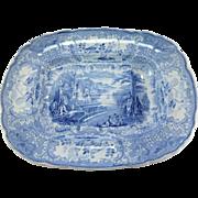 Rare French Bordeaux  D. Johnston Grès J. Vieillard & Co Blue and White Meat Platter 1845 - 1865