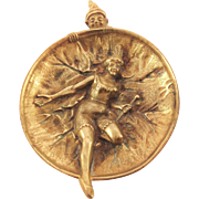 Fabulous French Bronze Dish. Circus Clown, Dancing Girl. Commedia dell'Arte. C1930