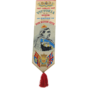 Victorian Stevengraph Commemorative Queen Victoria  Golden Jubilee Bookmark 1887