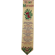 Rare Victorian Stevengraph Bookmark. To My Mother. T. Stevens Coventry.