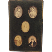 Antique Leather Family Photograph Frame for Five Miniature Portraits. Photographs. C.1880