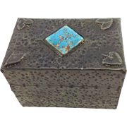 Arts and Crafts Pewter and Turquoise Playing Card Box. C.1910