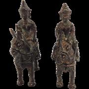Pair of Antique Bronze Horsemen. South East Asia. 19th Century.