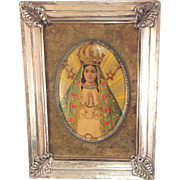 Beautiful Antique Religious Icon Depicting The Virgin of Ocotlán. Made in Germany
