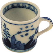 Antique Blue and White Miniature Mug with Crossed Swords Mark.