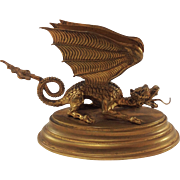 Superb French Gilded Metal Dragon Letter Rack. C1900