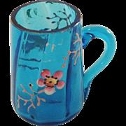Victorian, Miniature, Blue, Hand Painted, Enamel, Panelled Glass Mug. Doll