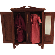 Edwardian Style Dollhouse Wardrobe. Complete with Clothes! C.1915