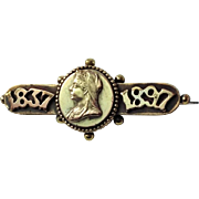 Victorian Commemorative Queen Victoria Jubilee Brooch. 1837 - 1897.