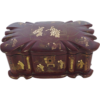 Beautiful Early 19th Century Chinese Laquered Tea Caddy. Gilt and Enamel Decoration.