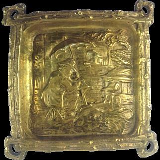 French Antique Gilded Bronze Dish. Unusual Scene MrPunch? 19th Century.