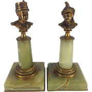 Fabulous Pair of French Military Bronzes on Onyx Pedestals. C.1880