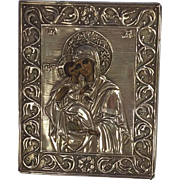 Fabulous  .84 Russian Silver Icon. Madonna and Child