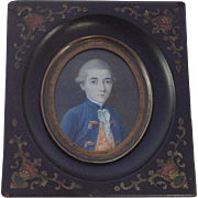 18th Century Miniature Portrait of French Gentleman. Enamelled Ebony Frame.