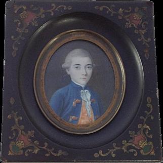 18th Century Miniature Portrait of French Gentleman. Enamelled Ebony Frame.