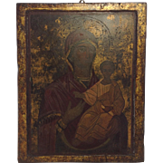 Antique Religious Icon. Russia. Oil on board. Madonna and Child. Signed.