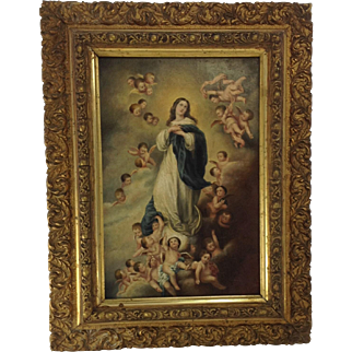 Beautiful 19th Century Oil on Canvass. Immaculate Conception.