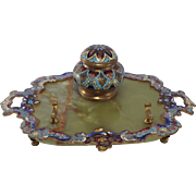 Ormolu and Enamelled Marble Desk-stand. Inkwell, Pen Holder. C. 1910