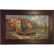 Superb Antique Oil on Board. Italian Scene. Early 19th Century. Signed.