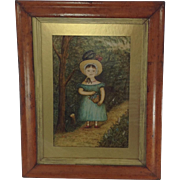 Fabulous Primitive Oil Painting on Board. Signed and Dated 1890.