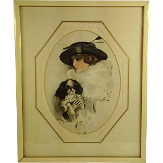 Glamorous Art Deco Lady With Spaniel Dog Watercolour Signed