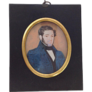 Victorian Watercolour Portrait of Gentleman. C.1830