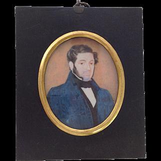 Victorian Watercolour Portrait of Gentleman. C.1830