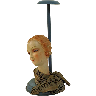Fabulous French Art Deco Hat Stand. Shop Display. Flapper Head. C.1925