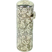 Beautiful Quality Chased English Sterling Silver Perfume Bottle. Chester 1889.