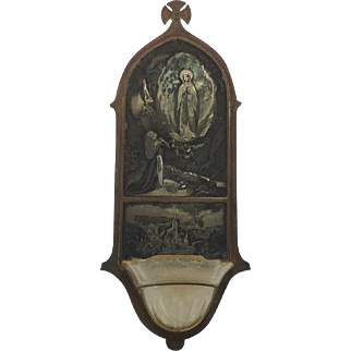 Antique French Bénitier. Decorative  Religious. Immaculate Conception.  19th Century.