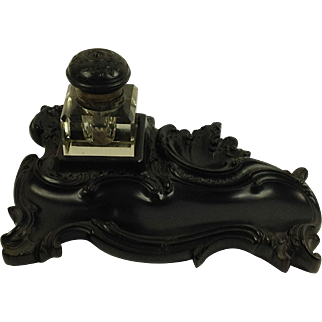 Beautiful French Antique Gutta Percha Desk Stand and Inkwell C.1890
