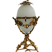 Beautiful French Antique Palais Royale Opaline Glass and Ormolu Egg Box C.1850