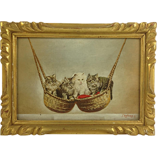 Vintage Oil Painting of Four Adorable Swinging Kittens. Signed.