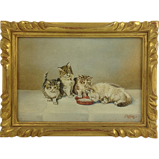 Vintage Oil Painting of Four Adorable Kittens. Signed.