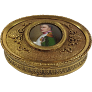 Beautiful Napoleon III French Bronze Dore / Ormolu Trinket Box with Hand-Painted Portrait of Napoleon