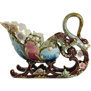Magnificent Art Nouveau Majolica/Barbotine Swan Centerpiece. C.1900