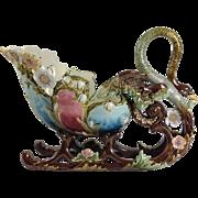 Magnificent Art Nouveau Majolica/Barbotine Swan Centerpiece. C.1900