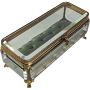 French Antique Bevelled Glass and Ormolu Jewellery Casket, Trinket Box. C.1880
