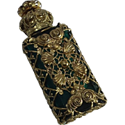 French Green Glass and Filigree Perfume Bottle