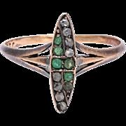 Art Nouveau Emerald & Diamond Marquise Ring