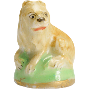 """18th Century Derby Chelsea """"Lying Lion"""" Porcelain Fob Seal"""