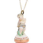 """Antique 18th Century Derby Chelsea """"Cupid with Bow"""" Porcelain Fob Seal"""