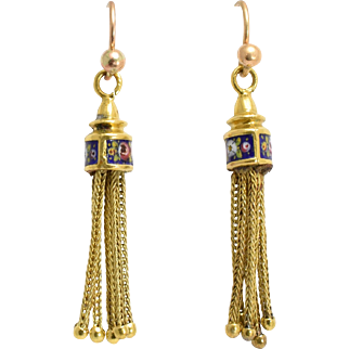 Victorian Enamelled Tassel Earrings