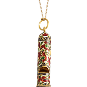 Antique 18th Century Mughal Enamelled Gold Whistle