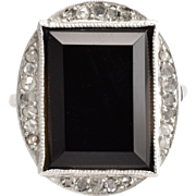 Art Deco Onyx Slab & Diamond Cocktail Ring